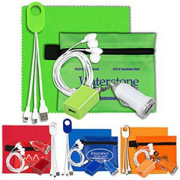 Mobile Tech Home and Auto Charging Kit with Earbuds and Microfiber Cleaning Cloth in Polyester Pouch